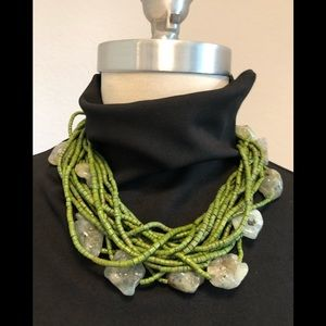 Jewelry - Multi Strand Green Bead & Stone Necklace